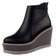 OCHENTA Women's Back Zipper Platform Wedge Ankle Boot: Amazon.co.uk: Shoes & Bags