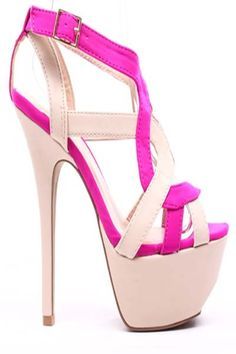 FUCHSIA LYCRA FAUX LEATHER STRAPPY PLATFORM HEELS,$27.99 #heelsfashion…