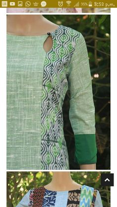 Saved as a sewing inspiration: Teardrop closure , woven material, interfaced Chudidhar Neck Designs, Salwar Neck Designs, Churidar Designs, Kurta Neck Design, Neck Designs For Suits, Kurta Designs Women, Dress Neck Designs, Sleeve Designs, Blouse Designs