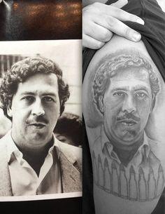Pablo Escobar portrait tattoo