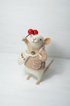 Little Traveler Collector Mouse - unique - needle felted ornament animal, felting dreams made to order. $68.00, via Etsy.
