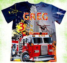 Personalized firemanT-shirt, Boys birthday fire fighter T-shirt, fire truck Birt Birthday Shirts, Boy Birthday, Personalized T Shirts, Family Shirts, Firefighter, Cool T Shirts, Onesies, Fire Engine, Fabric