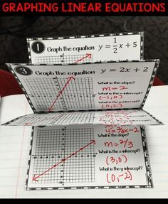 I used this linear equations booklet in my classroom as both independent practice and as notes for their interactive math notebook . Students will graph 6 linear equations from either Standard Form or Slope-Intercept Form and identify the parts of the gra Math School, Math Intervention, Math Notebooks, Interactive Notebooks, Secondary Math, Math Projects, Teaching Math, Math Teacher, Math 8