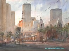 "Keiko Tanabe Watercolor Paintings    ""Arrival, Santa Fe Depot, San Diego, California"" watercolor 22""x30"" by Keiko Tanabe  Join us in San Diego for plein-air painting with me! For more details https://www.facebook.com/events/268309290213031/"