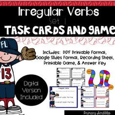 Irregular Verbs Set 1 Task Cards and Game (Digital Version Task Cards Included) Daily 5 Activities, Guided Reading Activities, Back To School Activities, Teaching Reading, Classroom Activities, Classroom Ideas, Motivational Activities, Grammar Skills, Behavior Plans