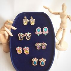 Original Soutache Earrings, Mickey Design Variations Custom made by Little Venice Designs / Great Price. Hypoallergenic