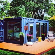 """""""She shed"""" delight. Great for home office or backyard entertaining and sleeping … """"She shed"""" delight. Great for home office or backyard entertaining and sleeping quarters for house guests. Ive always wanted an office / guest cottage…, Shipping Container Sheds, Shipping Container Home Designs, Container House Plans, Shipping Containers, Container Van, Container Garden, Shed Office, Backyard Office, Backyard Studio"""