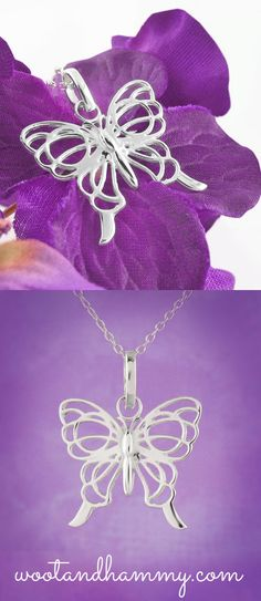 As caterpillars and butterflies goes thru the remarkable metamorphosis process, they evolve and experience a variety of changes.  Like the butterfly, the charmingly symbolic Simply Elegant Butterfly Necklace in Sterling Silver helps its owner transition with graceful growth and fearless acceptance.  Confidently wear the stunning Simply Elegant Butterfly Necklace as a symbol of resurrection and new beginnings.
