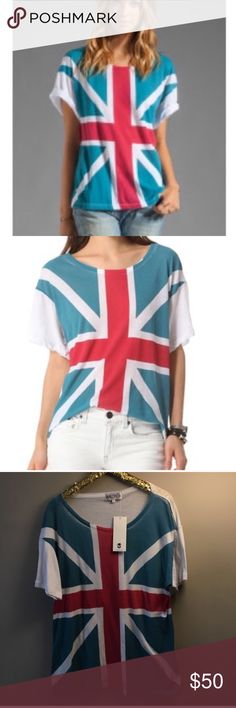 "Wildfox Unisex Union Jack Shirt Wildfox Unisex Union Jack Tee Shirt.Fun And Funky WildFox Union Jack Tee.Big Bold Union Jack Flag Covers The Front And The Back Is Solid White.Very Oversized Fit.This Is A Size 2 which Means in Wildfox Sizing it is M/L. Approx Measurements:Bust-23"" Across/Length-28""Fits like an  X-Large BestFabric: 50% Cotton/50% Polyester.Slight Fade To Graphic Which Gives It A Cool Vintage Appeal Wildfox Tops Tees - Short Sleeve"
