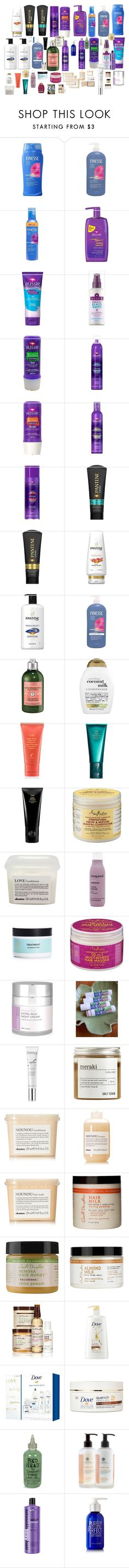 """""""Conditioners :)"""" by airandearth on Polyvore featuring beauty, Finesse, L'Occitane, Organix, Oribe, Space NK, SheaMoisture, Davines, Living Proof and Rapunzel Of Sweden"""