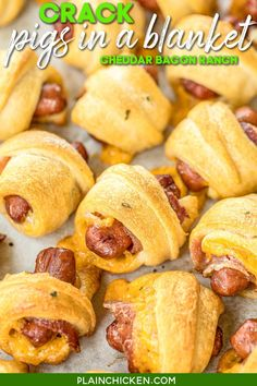 Crack Pigs in a Blanket - pigs in a blanket loaded with cheddar, bacon and ranch - OH MY GOODNESS!!! Only 5 ingredients and ready in about 15 minutes. Crescent rolls, cheddar, bacon, ranch dressing, and lit'l smokies. Can assemble in advance and refrigerate until ready to bake. Great for parties! These things FLY off the plate!!! I almost always double the recipe and never have any leftovers. #superbowl #tailgating #pigsinablanket #appetizer #fingerfood Yummy Appetizers, Appetizer Recipes, Snack Recipes, Cooking Recipes, Sandwich Recipes, Yummy Recipes, Dinner Recipes, Dog Recipes, Bacon Recipes