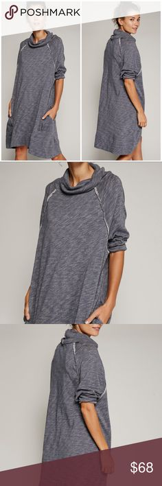 NWT Free People Cocoon Beach Dress Charcoal Tunic Free People Terri Cocoon Cowl Dress (charcoal) – oversize free style dark grey knit dress with cowl neckline, reversed seams, pockets, 3/4 sleeves and easy comfortable fit. Wear it as a dress, tunic or long sweater. A must have casual chic style in your wardrobe! Fitting Tip: order a size down, if you prefer a tighter fit.  Washable. Free People Dresses