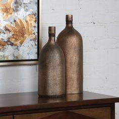 Biren Textured Antiqued Gold Vases Set/2 #recycledwinebottles