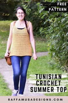 Treat yourself with a beautiful, light-weight Tunisian Crochet Summer Top. You are going to love wearing this vest top. Also perfect as a beach cover-up! This pattern is size inclusive and is written for sizes from XS up to 5XL. #crochet #tunisian #top #sleeveless #strap #tshirt #garment #coverup #summer #light #woman #sizeinclusive #tunisiancrochet #vest #beginner #stebystep #tutorial #free #cotton #bamboo