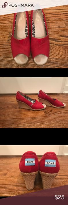 Toms Red size 9 wedges. Easy summer or fall atoms wedges. These are comfortable wedges for work or out on the town. Worn for one season. Selling because they are slightly big on me. Toms Shoes Wedges