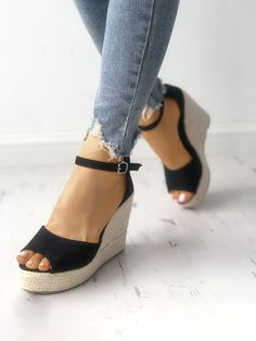 14f8c6d84366 Shop Ankle Strap Espadrille Wedge Sandals – Discover sexy women fashion at  Boutiquefeel Black Wedges Outfit