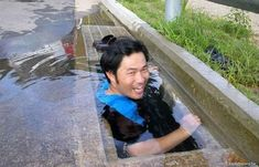 25 Funny DIY Pools - Using a storm drain to cool off. Inventive but dangerous!