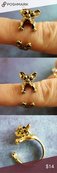 Adorable French Bulldog ring! 3D realistic dog This adorable ring looks like a real little French Bulldog that hugs your finger! It is made of gold tone alloy metal and is adjustable size. In new condition. From a smoke free home :)  MoonE8872dog8j5h  Frenchie Boston terrier canine dog lover Jewelry Rings