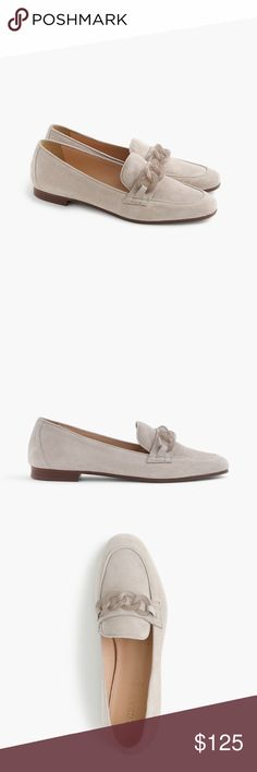 J. Crew suede Charlie loafer w/ lucite links. Sz 8 A J. Crew customer-favorite loafer, updated with Lucite links and a teeny heel for a little lift.   Suede upper. Leather lining. Man-made sole. Made in Italy. J. Crew Shoes Flats & Loafers