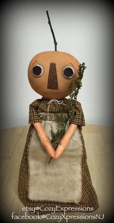 Primitive Pumpkin Girl by CozyExpressions on Etsy