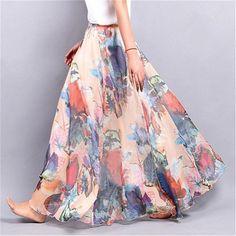 Elegant Summer 2017 Women Long Skirt Chiffon Saia Beach Bohemian Maxi Skirts High Waist Tutu Casual Vestidos Harajuku Print - Women's Skirts