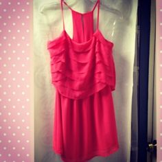 Coral Pink Color Ruffles Dress
