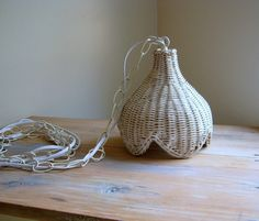 White Wicker Swag Pendant Light Lamp by NaturalVintage on Etsy