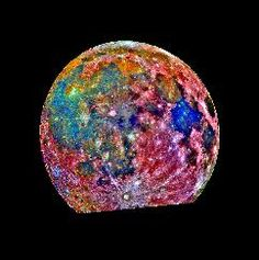 Moon - This image of the Moon was taken by the Galileo spacecraft as it passed by. It is a composite of images taken in three different colors. The color scheme is exaggerated to emphasise composition differences. Blue areas are titanium rich, orange areas are titanium poor and purple areas are iron poor.