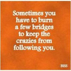 Sometimes you have to burn a few bridges to keep the crazies from following you. True. Burn Bridges, Crazy People, Fake People, Nasty People, Toxic People, Crazy Things, Fun Things, Positive Thoughts, Positive Life
