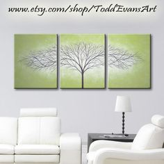 ON SALE TODAY, 48x20 Inches, Olive Green, Original 3 piece Set, Canvas Large Wall Art Tree Painting Trees, Triptych Wall decor art paintings by ToddEvansArt, $90.00