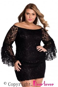 bc09b5aa3ad Hollow Lace See-Through Flare Sleeve Women s Bodycon Dress - Alfs Fashion.  Pamela · Plus Size Dresses