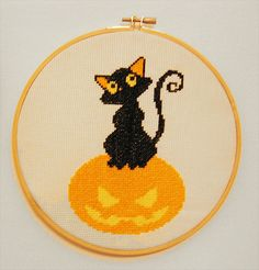 #cross #stitch #halloween #black #cat #pumpkin