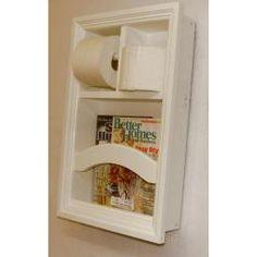 DIY bathroom organizer--magazine, toilet roll, air freshener