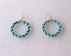Spiral Peyote Beaded Hoop Earrings With by TheBeadedDiamond, $35.00