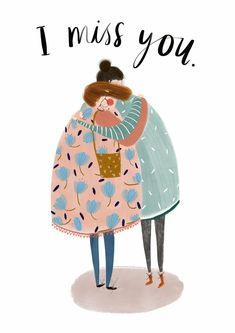 I Miss You. Illustration for a new greetings card design by Katy Pillinger Desig. - I Miss You. Illustration for a new greetings card design by Katy Pillinger Designs © 2018 - Art And Illustration, People Illustration, Illustrations And Posters, Graphic Design Illustration, Gouache Painting, Painting & Drawing, Love Is Comic, Guache, Zine