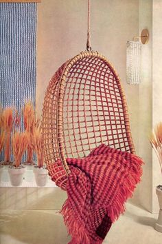 Vintage Retro 60s hanging chair home interior