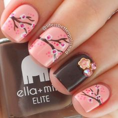 Cherry blossom nails with pretty floral charm