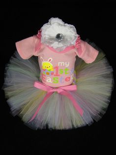 My First Easter Baby Girls Outfit - Easter Chick Bodysuit with Matching Tutu and Headband - Size 3-6 Months on Etsy, $38.00