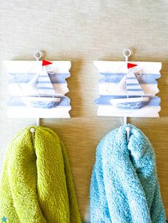 Nautical Wooden Sailboat Hooks with Red by OpenVintageShutters, $14.00