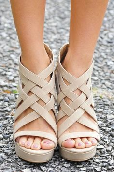 Fenced In Wedges: Sand.I like the fenced in part but I want in heels, not wedges Wedge Sandals, Wedge Shoes, Shoes Sandals, Sandal Wedges, Cute Shoes, Me Too Shoes, Nude Wedges, Strappy Wedges, Beige Wedges