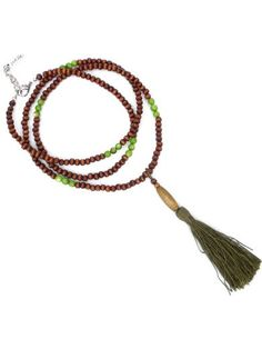 Long necklace with brown wooden beads and green semi-precious stones by PerElle on Etsy