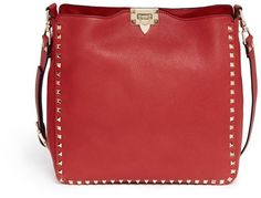 VALENTINO Rockstud leather hobo messenger bag