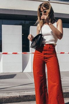 Flared high-rise pants in yellow and orange for spring and summer fashion | Girlfriend is Better #Yellow #summerfashions,