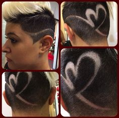 Heart surf slash hair design. | girl undercut | blonde undercut | short hair | short blond hair | barber | hairstylist | wahl tattoo | hair tattoo