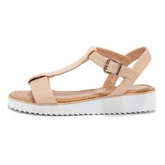 Bamboo Sun Kind of Wonderful Nude T-Strap Sandals ($23) ❤ liked on Polyvore featuring shoes, sandals, pink, pink rainbow sandals, evening shoes, special occasion shoes, cocktail shoes and rainbow shoes