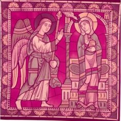 Annunciation stained glass window France Chartres Chartres Cathedral 12th Century Canvas Art - (18 x 24)
