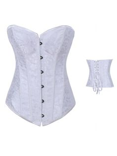 White Embroidery Corset Overbust ==> Wholesale price #lingeriefirst