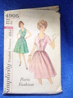 Vintage 1960s Simplicity 4905 Paris Fashion Full Skirt Dress Pattern sz 12 Uncut #Simplicity #vintage #sewing #vintagesewingpatterns #eBay