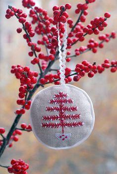 Embroidered Christmas tree ornament / Xmas tree decoration
