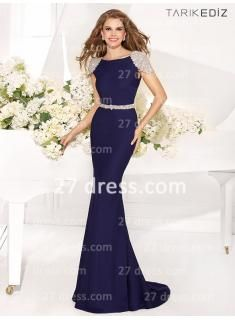 Backless Navy Blue long Mermaid Evening Dress, Cap Sleeves satin Crystal evening gowns